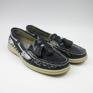 Sperry Top-Sider Boat Shoe Black,White,Silver 7.5M